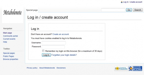 Log in / create account